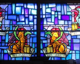 Sea Isle City Methodist Church stained glass window of four gospels
