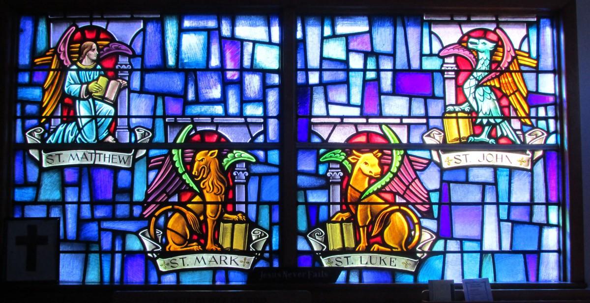 Sea Isle City Methodist Church stained glass window of four gospels