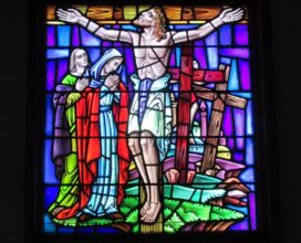 Sea Isle City Methodist Church stained glass window Jesus hanging on the cross