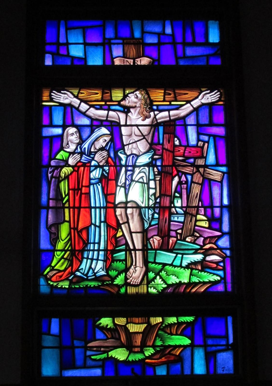 Sea Isle City Methodist Church stained glass window Jesus hanging on the cross