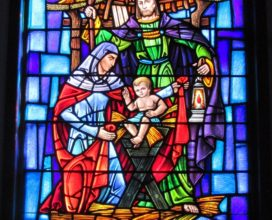Stained Glass Window baby Jesus in manger